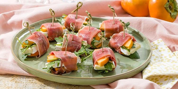 EAT ME Serrano ham & Sharonfruit rolls