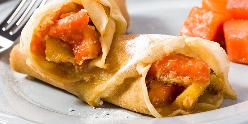 EAT ME lunch recept - pannenkoekjes met papaja en mini ananas