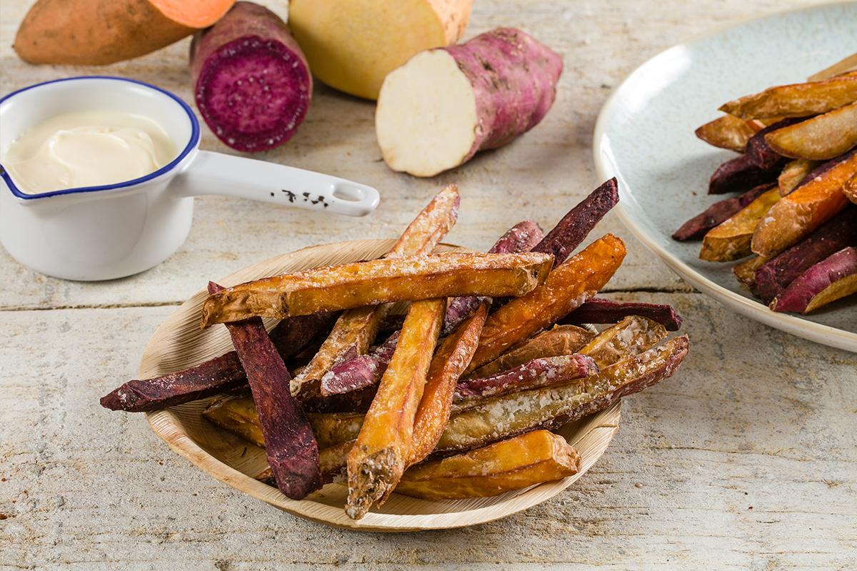 Zoete aardappel - Gekleurde zoete aardappelfrieten