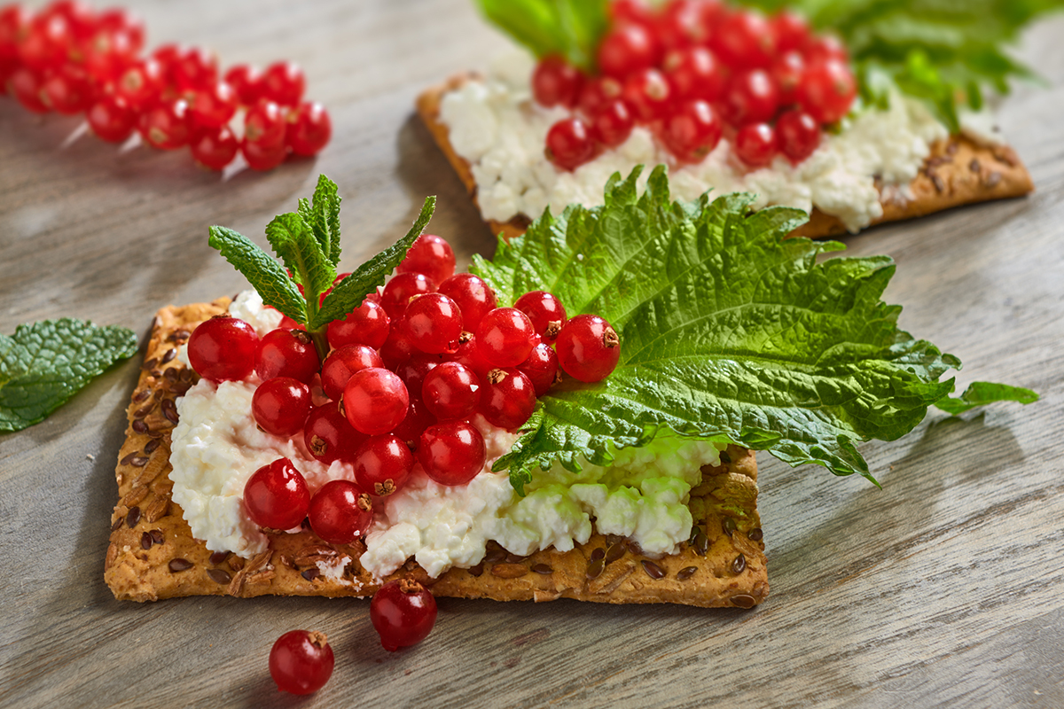 Rode bessen - Cracker met hüttenkäse en rode bessen